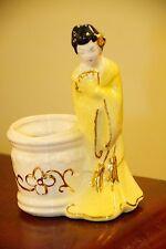 VINTAGE ASIAN GEISHA FIGURINE VOTIVE CANDLE HOLDER PLANTER TOOTHPICK GOLD GILT