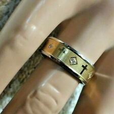 AUSTRIAN CRYSTAL MENS BAND RING IN ION PLATED YG & STAINLESS STEEL - SIZE 10