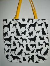 Dog Lovers Canvas Tote Bag Black White Shopper Book School Travel Breeds 15""