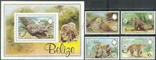 [BEL] BELIZ 1983 WWF WILD ANIMALS, JAGUARS. SET OF 4 STAMPS + SOUVENIR SHEET. .