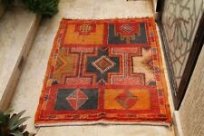 Old Vintage Moroccan Rug Authentic Handmade Berber Tribal Azilal wool Carpet