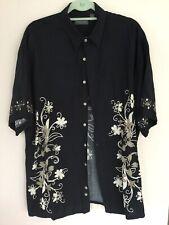 VAN Heusen summer Shirt SzXL black and cream tan floral cool and beach ready ch