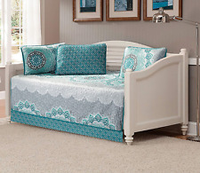 Linen Plus 5pc Daybed Cover Set Quilted Bedspread Floral Aqua/Grey