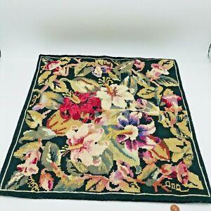 "Needlepoint Handmade Floral Pillow Cover Velvet Backing 18"" x 18"" Cottage Core"