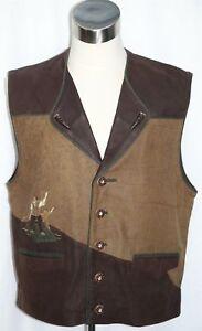 "BROWN LEATHER German VEST Jacket Men Hunting Western Oktoberfest / Eu 54 C47"" L"
