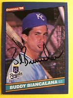 1986 Autographed Ip On Card Buddy Biancalana Royals #605 *Noles2148* C/Ship