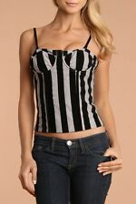 NWT Nuvula  Velveteen Striped Convertible Sexy Bustier Corset Top,sz.S