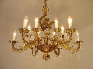 BRASS CHANDELIER CEILING LAMP 12 LIGHT LIVING ROOM MASTER PIECE FOYER FAIRY