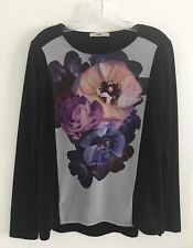 NWT✨🌸OASIS PURPLE PINK WHITE GRAPHIC FLORAL PHOTO PRINT L/S TOP SHIRT-S✨🌸