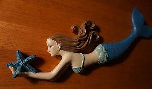 Hand Painted Nautical Blue Starfish Mermaid Plaque Statue Beach Home Decor Sign