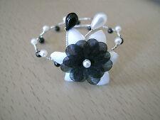 Bracelet Noir et Blanc p robe de Mariée/Mariage/Soirée, Fleur/Perles nacrées