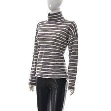 J.Crew Women Knitted Herringbone Turtleneck Pullover Top White/Grey Small Stripe