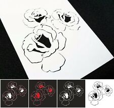 Large 3pcs Roses Airbrush Stencils Card Home Interior Wall Decoration Cake Paint