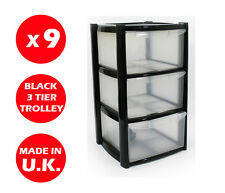 9 x 3 DRAWER PLASTIC STORAGE DRAWER - CHEST UNIT - TOWER - WHEELS - TOYS - BLACK