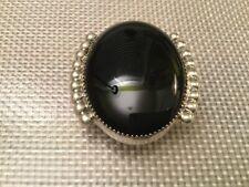 Vintage Navajo DAN JACKSON Sterling Silver Oval Black Onyx Bolo Tie