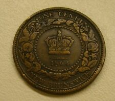 1864 Canada New Brunswick 1 One Cent Large Penny