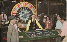 WHEEL OF FORTUNE casino gaming**LINEN vintage las vegas nevada Post Card *A 92