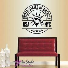 Vinyl Decal New York City USA NYC Statue Of Liberty Logo Stamp Wall Decor 392