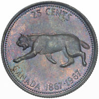 1967 CANADA 25 CENTS LYNX SILVER GEM COLOR BEAUTIFUL UNC PURPLE TONED BU (DR)