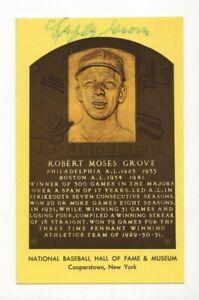 Lefty Grove - MLB Hall of Fame - Autographed Hall of Fame Plaque Postcard