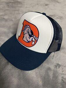 DENVER BRONCOS THROWBACK VINTAGE Helmet Logo Blue & White Trucker Hat Cap NEW