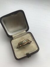 Antique Yellow Gold Pearl And Turquoise 3 Stone Ring.