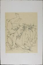Vintage Etching by Peter, Nude Abstract Modern Print, Limited Edition 99, 1976