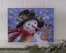 Snowy Snowman with Bird lighted picture by Radiance Lighted Canvas x47002 NEW