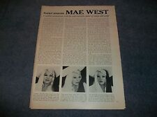 "1971 Actress and Model Mae West Interview Article ""...Queen of Vamp and Camp"""