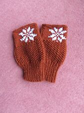 Hand Knitted Finger-less Mittens with snowflake pattern