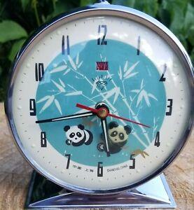 Vtg animated mechanical panda Diamond Alarm Clock made in Shanghai blue face