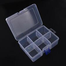 6 Compartment Clear Adjustable Jewelry Bead Organizer Box Storage Container Case
