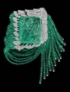 Royal Statement Green Emerald Carved White CZ Studded Beaded Womens Bracelet