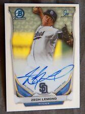 San Diego Padres Zech Lemond 2014 Bowman Chrome Certified Auto Card