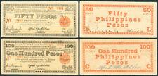 50 & 100 Pesos Negros US Philippine 1943 Treasury Emergency WW2 Banknote