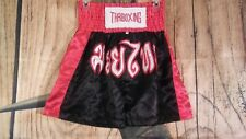 Muay Thai Kick Boxing Shorts Satin Size L Embroidered Thai Writing Black Red