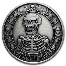 1 OZ SILVER COIN PROOF ANTIQUED MEMENTO MORI LAST LAUGH DEATH # ANONYMOUS MINT