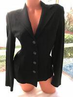 Dolce & Gabbana Jacket Blazer Black Virgin Wool Made in Italy Size 42