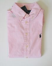 Ralph Lauren Boys Cotton Short Sleeve Gingham Shirt Pink Multi Sz L (14-16)-NWT