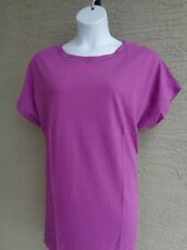 00f709b0 Roaman's Plus L 18-20W Crew Neck Short Raglan Cotton Tee Shirt Tunic Top  Violet