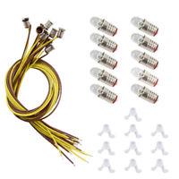 E505WT 10 * White LED Screw Bulb and Stand Base  E5 E5.5 12V-14V Spur H0/N Scale