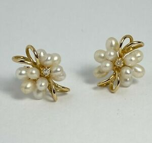 Vintage 14K Yellow Gold Rice Pearl & Diamond Accent Cluster Earrings ~Stunning~