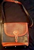 Authentic Bally vintage brown woven and black leather shoulder bag