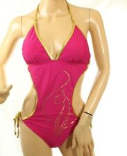 Baby Phat Women's Halter Monokini Striped Pink And Gold Straps Swimsuit Size S