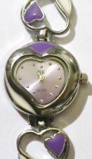 montre bijoux quartz déco coeur émail violet montre fond parme * 4736