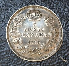 OLD CANADIAN COIN 1915 - 5 CENTS - ERROR - .925 SILVER - George V - Nice Toning