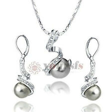 18K White Gold GP Use Swarovski Crystal Black Pearl Necklace Earring Jewelry Set