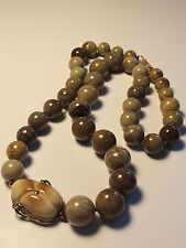 "14kt Yellow Gold Hand Carved Scarab Picture Jasper Beaded Necklace 22"" EUC Brown"