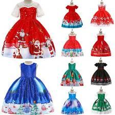 Kids Girl Christmas Santa Claus Swing Dress Xmas Festival Party Princess Dresses