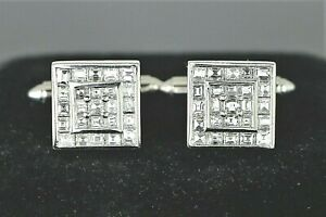 $12,500 Men's Platinum 2.87ct Asscher Cut Diamond Channel Set Square Cufflinks
